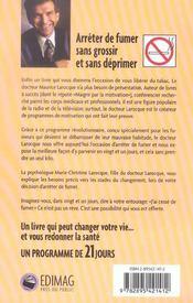 Cesser De Fumer En 21 Jours Sans Engraisser - 4ème de couverture - Format classique