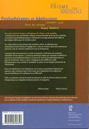 Psychotherapies Et Adolescence - 4ème de couverture - Format classique