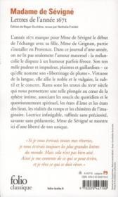 Lettres de l'année 1671 - 4ème de couverture - Format classique