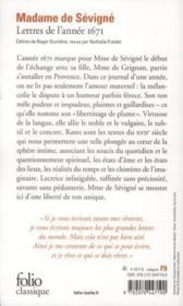 Lettres de l'année 1671 - Couverture - Format classique