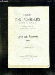 Union Des Ingenieurs Sortis Des Ecoles Speciales De Louvain. Liste Des Membres 1910. - Couverture - Format classique