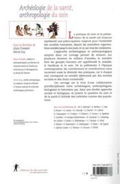 Archéologie de la santé, anthropologie du soin - 4ème de couverture - Format classique