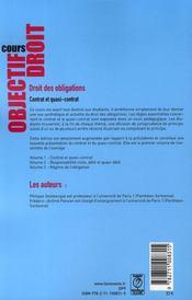 Droit des obligations. contrat et quasi-contrat - 4ème de couverture - Format classique