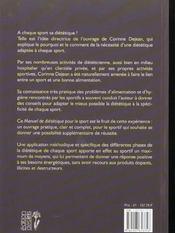 Manuel de diététique pour le sport - 4ème de couverture - Format classique