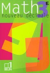 Nouveau decimale. math 3e - livre de l'eleve - Intérieur - Format classique