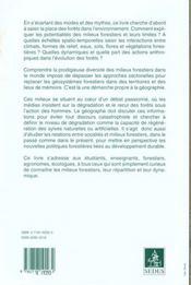 Les Milieux Forestiers ; Aspects Geographiques - 4ème de couverture - Format classique