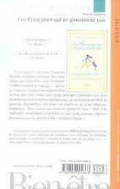 Ces Francaises Qui Ne Grossissent Pas... Mais Comment Font-Elles ? - 4ème de couverture - Format classique