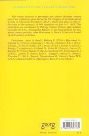 Revue Adolescence ; Personality And Conduct Disorders Adolescence - 4ème de couverture - Format classique