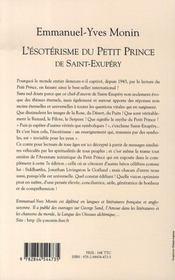 L'ésotérisme du petit prince de saint-exupéry - 4ème de couverture - Format classique
