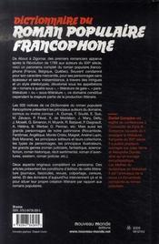 Dictionnaire du roman populaire francophone - 4ème de couverture - Format classique