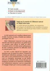 L'Allaitement Maternel - 4ème de couverture - Format classique