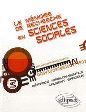 Le mémoire de recherche en sciences sociales - Intérieur - Format classique