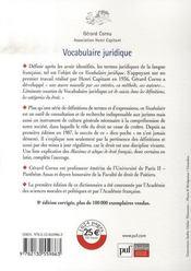 Vocabulaire juridique - 4ème de couverture - Format classique