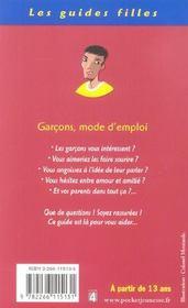 Garcons, mode d'emploi - 4ème de couverture - Format classique