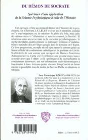 Du Demon De Socrate ; Specimen D'Une Application De La Science Psychologique A Celle De L'Histoire - 4ème de couverture - Format classique