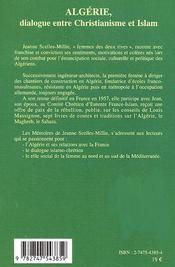 Algerie, dialogue entre christianisme et islam ; mémoires et notes ; 1900 a 1974 - 4ème de couverture - Format classique
