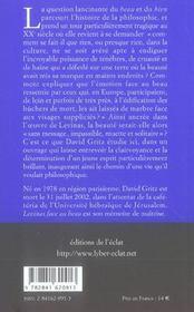 Levinas Face Au Beau - 4ème de couverture - Format classique