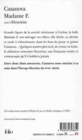 Madame F. ; Henriette - 4ème de couverture - Format classique