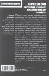 Juifs d'un cote. portraits de descendants de mariages entre juifs et chretiens - 4ème de couverture - Format classique