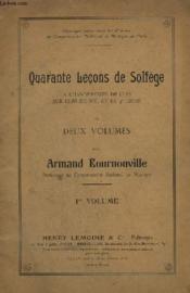 Quarante Lecons De Solfege A Changements De Cles Sur Cles De Sol Et Fa 4° Ligne - Volume 1. - Couverture - Format classique