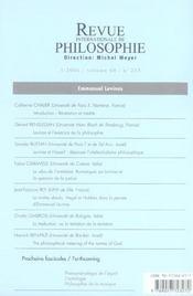Revue Internationale De Philosophie N.235 ; Emmanuel Levinas - 4ème de couverture - Format classique