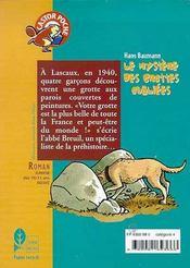 Le mystere des grottes oubliees - - emotion garantie, roman, junior des 10/11ans - 4ème de couverture - Format classique