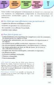 Qcm De Culture Generale ; Les Collectivites Territoriales - 4ème de couverture - Format classique