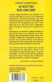 Au Bout Des Rues Obscures - 4ème de couverture - Format classique