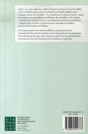 Revue Francaise De Yoga N.35 ; Le Corps, Le Sujet, L'Altérité - 4ème de couverture - Format classique