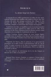 Adrien ; le dernier berger des Pyrénées - 4ème de couverture - Format classique
