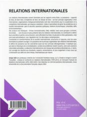 Relations internationales (7e édition) - 4ème de couverture - Format classique