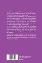 Droit des femmes, tout peut disparaître - 4ème de couverture - Format classique