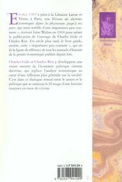 Histoire des doctrines économiques ; depuis les physiocrates jusqu'à nos jours - 4ème de couverture - Format classique
