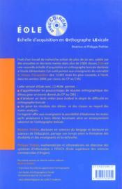 Échelle d'acquisition en orthographe lexicale ; éole ; pour l'école élémentaire, du CP au CM2 - 4ème de couverture - Format classique