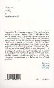 Pouvoirs Locaux Et Decentralisation - 4ème de couverture - Format classique
