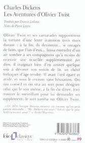 Les aventures d'Oliver Twist - 4ème de couverture - Format classique