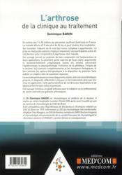 L'arthrose : de la clinique au traitement - 4ème de couverture - Format classique