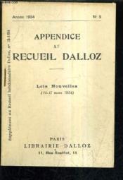 Appendice Au Recueil Dalloz N°5 Annee 1934 - Supplement Au Recueil Hebdomadaire Dalloz N°13-1934. - Couverture - Format classique