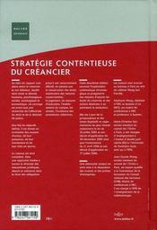 Stratégie contentieuse du créancier (2e édition) - 4ème de couverture - Format classique