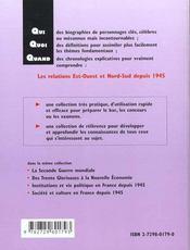Les Relations Est-Ouest Et Nord-Sud Depuis 1945 - 4ème de couverture - Format classique
