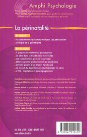 La Perinatalite - 4ème de couverture - Format classique
