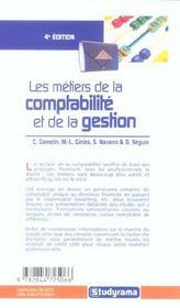 Metiers de la comptabilite et de la gestion 4e (4e édition) - 4ème de couverture - Format classique