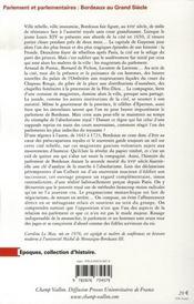 Parlement et parlementaires ; Bordeaux au Grand Siècle - 4ème de couverture - Format classique