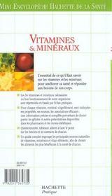 Vitamines Et Mineraux - 4ème de couverture - Format classique