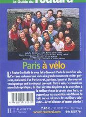 Paris A Velo - 4ème de couverture - Format classique