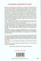 L'inscription corporelle de l'esprit - 4ème de couverture - Format classique