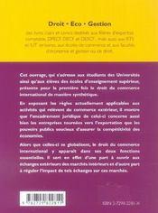 Droit Du Commerce International - 4ème de couverture - Format classique