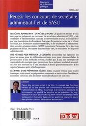 Réussir les concours de secrétaire administratif et de sasu catégorie b - 4ème de couverture - Format classique