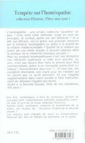 Tempete Sur L'Homeopathie - 4ème de couverture - Format classique