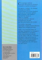 Programmation En Langage C ; 2e Edition - 4ème de couverture - Format classique